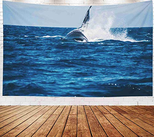Fullentiart Wall Tapestry, Map Large Tapestry Wall Hanging 80x60inch Humpback Whale Showing Its Tail Splashing Off The Coast Maui Hawaii Decoration Room Holiday Décor Tapestries ()