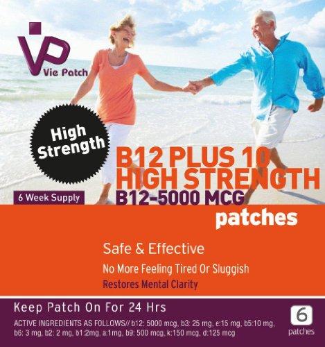 Vie Patch - vitamine B12 à haute résistance 5000 Mcg - 6 correctifs. No More sentez fatigué ou léthargique. Méthylcobalamine. 6 Semaine Alimentation