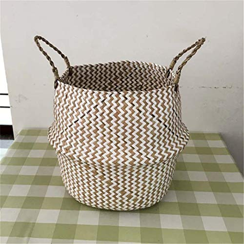 JISGUEES New Foldable Handmade Seagrass Storage Basket Wicker Rattan Belly Straw Garden Flower Pot Wave Pattern Planter Laundry Basket Beige 31cm