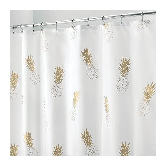 """iDesign Fabric Pineapple Shower Curtain for Master, Guest, Kids', College Dorm Bathroom, 72"""" x 72"""", Gold and White - FABRIC SHOWER CURTAIN: High-quality wrinkle resistant 100% polyester fabric gives your shower stall a sleek look. Great for master bathroom, guest bathroom, child's bathroom, or basement bathroom MODERN DESIGN: The gold pineapple theme of this curtain and adds an interesting style element to any bathroom environment EASY CARE: Machine wash cold, tumble dry low for an easy clean - shower-curtains, bathroom-linens, bathroom - 51YWeTDLxnL. SS570  -"""