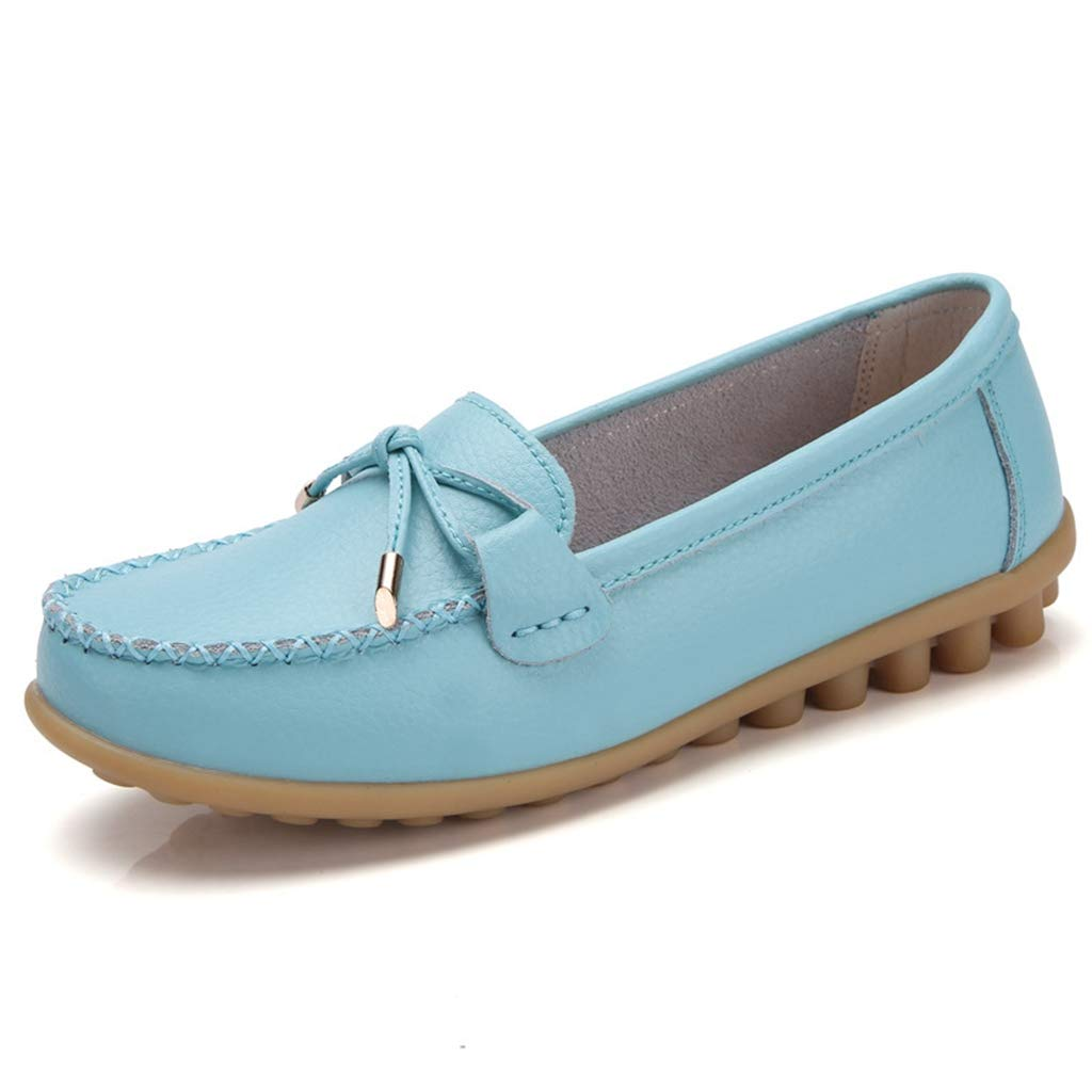 Light bluee GIY Women's Slip On Loafers Soft Comfort Leather Bow Natural Casual Round Toe Breathable Driving Walking Flats shoes
