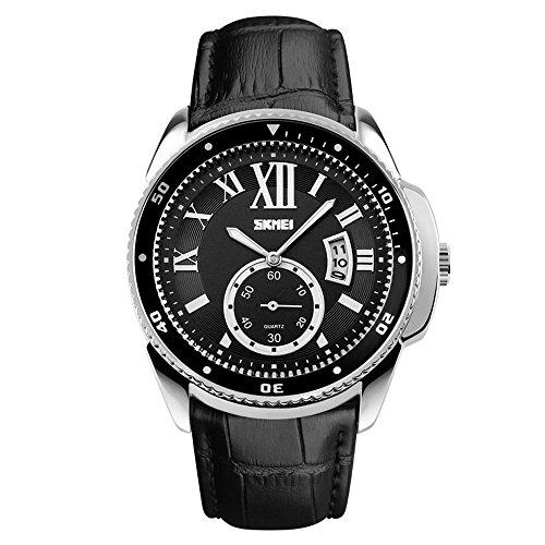 J.Market Quartz Watch Analog Casual Classic Waterproof Dress Wrist Business Watch with Genuine Leather Band (Black)