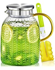 Water Pitcher, 1.8 L Glass Pitcher with Lid, Heat Resistant Glass Jug Juice Jug, Iced Tea Pitcher Juice Pitcher for Fridge, Glass Water Carafe for Milk, Cold or Hot Beverages, Easy Clean Water Jug