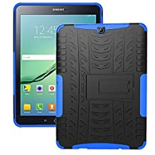 DWay Tablet Cover Samsung Tab S2 9.7 T810 Armor Design with Stand Feature Detachable Dual Layer Protective Shell Tablet Hard Back Case Cover for Samsung Galaxy Tab S2 9.7inches Tablet T810 (Blue)