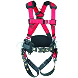 3M Protecta PRO 1191210 Construction Harness, Back and Side D-Rings, Hip Pad and Belt, Pass Thru Legs, 420  lb. Capacity, X-Large, Red/Gray