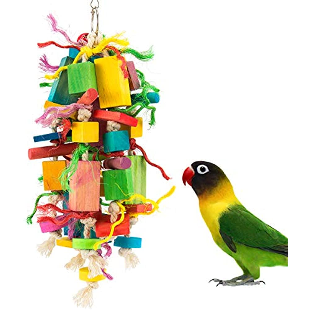 Wooden Block Bird Parrot Toys for Small Medium Large Parrots and Birds