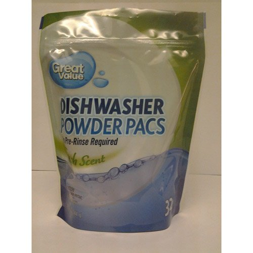 GREAT VALUE FRESH SCENT DishwasherパウダーPacs withグリースFightingアクション、32 ct B00JGZW1OS