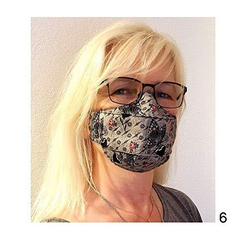 Baumwollmaske Behelfsmaske Alltagsmaske Nase-Mund-Bedeckung Alltagsmasken für Brillenträger Schmetterlinge Eulen Ranken Blumen