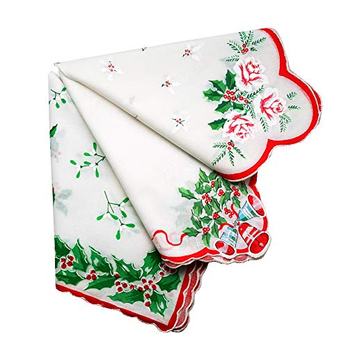 Holiday Christmas Red Green Cotton Ladies Print Handkerchiefs Hankie Hanky- Set of 3
