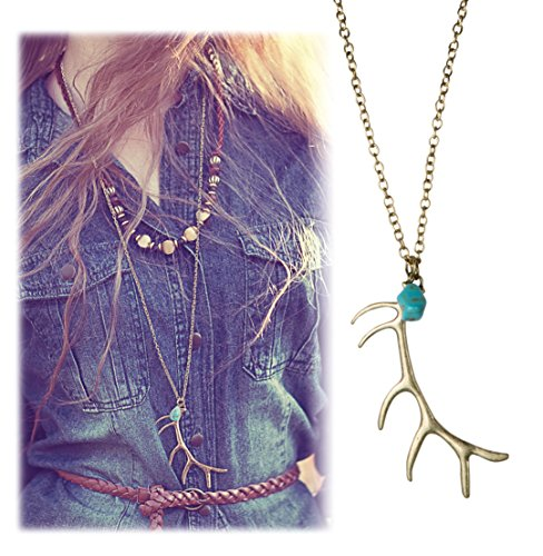 Gold Brass Bohemia Tribal Deer Antler Pendant Necklace - SPUNKYsoul Collection Antler Collection