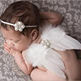 DZT1968® Baby Girl Headband With Angel Feather Wing Costume Photo Prop Outfit