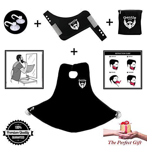 Beard Shaving Bib & Beard Shaping Tool Premium Kit For Men - Professional Styling Template & Beard Shaper Comb + Suction Cups + Shaving Bag + Hair Catcher & Grooming Cape Apron - The Perfect Gift ()