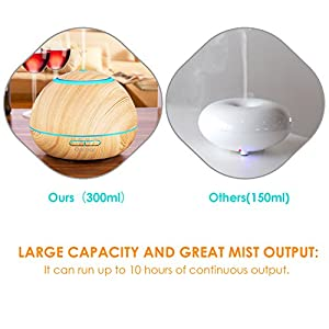 Deckey Essential Oil Diffuser 300ML Wood Grain Cool Mist Humidifier Aromatherapy Ultrasonic Aroma Diffuser, 7 Color Changing 15 Night Modes, Waterless Auto-Off for Home Office