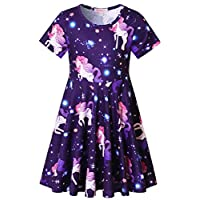 Girls Unicorn Dresses Summer Swing Short Sleeve Casual Clothes for Little Kids