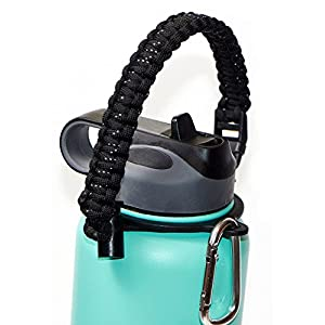 WaterFit Paracord Carrier Strap Cord with Safety Ring and Carabiner for 12-Ounce to 64-Ounce Wide Mouth Water Bottles, Black Speckled
