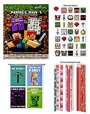 Minecraft 32 Classroom Valentines Day Cards Stickers Pencils Bundle Hallmark