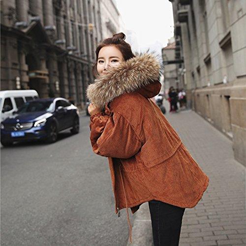 Xuanku Cotton Jacket Female Short Paragraph Loose Winter Wool Collar Cotton Wool Corduroy Cotton Jacket Jacket Female caramel Colour