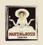 Retro Martini Ad Cigarette Case Business Card ID Holder Wallet Art Nouveau Vintage Poster Ad