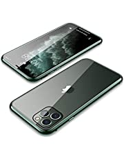 ايفون 11 برو ماكس جراب 360 درجة قطعتين مغناطيسي معدن فارغ من الأمام ومغطي بالزجاج من الخلف - اخضر