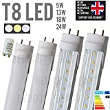 T8 3,4,5 FT foot LED Tubes Bulbs G13 60cm 90cm 120cm 150cm 18W 1620LM White, Warm, Natural, 96 LEDs 2835 SMD Cool White 6000-6500K Fluorescent/Neon Tubes Transparent Clear Cover [Energy Class A+] (120cm, 4FT, Frosted Cover, Natural White)