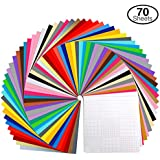 """Vinyl Sheets, Ohuhu 70 Permanent Adhesive Backed Vinyl Sheets Set, 60 Vinyl Sheets 12"""" x 12"""" + 10 Transfer Tape Sheets, 30 Assorted Color Sheets for Cricut, Silhouette Cameo, and Other Craft Cutters"""