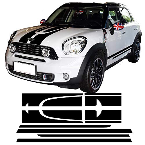 Side Stripe Kit - CHARMINGHORSE Decal Sticker Stripe Kit for Mini Countryman Cooper S Racing Hood Side Trunk JCW Vinyl Stickers- White/Black/Red/Gold to Choose (Black)