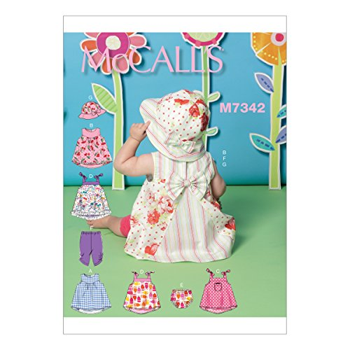 McCall's Patterns M7342 Infants' Back-Bow Dresses, Panties, Leggings and Bucket Hat ()