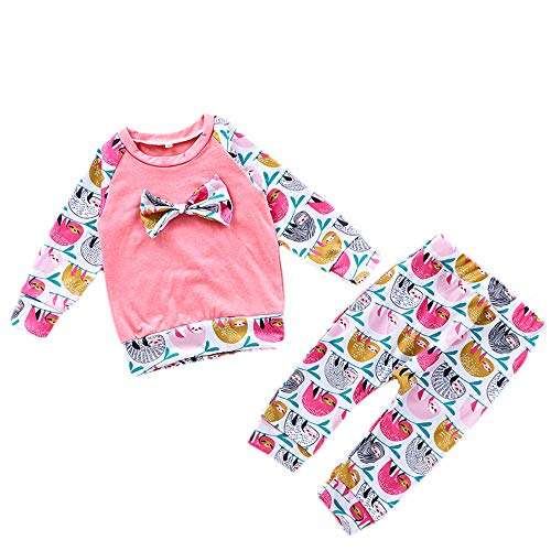 Infant Girls Cartoon Sloth Outfits Set 2pcs Toddler Baby Bowknot Tops Animals Printed Legging Harem Pants