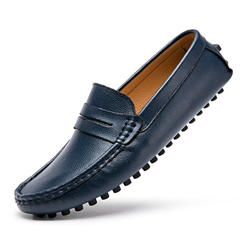 (Artisure Men's Classic Handsewn Genuine Leather Penny Loafers Driving Moccasins Casual Slip On Boat Shoes Fashion Comfort Flats Blue 10.5 M US SKS-1223LAN105)