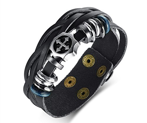 XUANPAI Handmade Hematite Black Genuine Leather Cross Bracelet Wristband Adjustable,Punk Rock Style