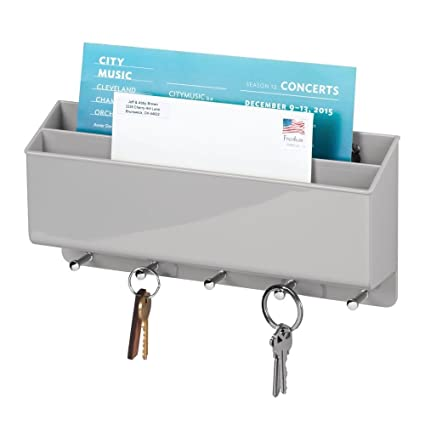 mDesign Organizador de cartas con colgador de llaves - Estante de pared para ordenar llaves con 5 ganchos - Moderno cuelga llaves con repisa dividida ...
