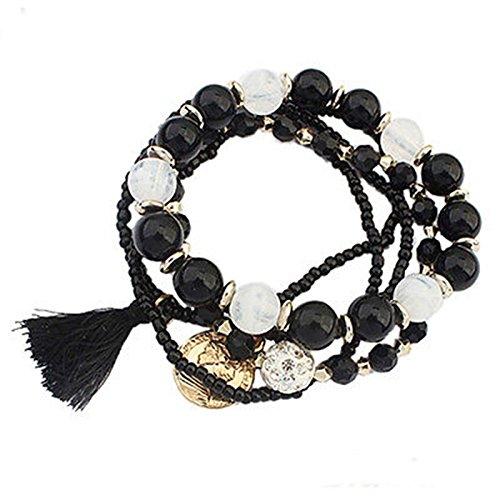 Girl Stylish Bohemian Multilayer Mixed Acrylic Beads Rhinestone Elastic Bracelet LOVE STORY (Black)