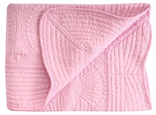 AshopZ Lightweight All Weather Embossed Cotton Baby Coverlet, Pink, 36 inches x48 inches