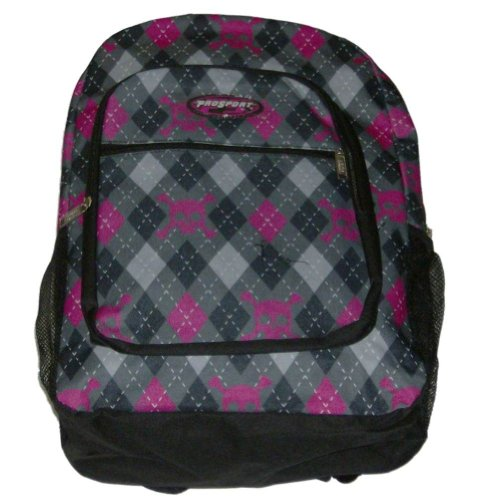 ProSport Gray Argyle & Pink Skull Backpack Sport School Travel Back Pack