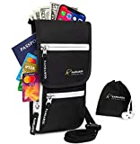 Neck Wallet - Passport Holder Neck - Travel Neck Pouch - Hidden Wallet RFID Blocking