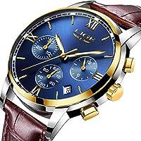 Men's Luxury Business Quartz Watch, LIGE Fashion Analog Chronograph Wrist Watch with Brown Leather Band ¡