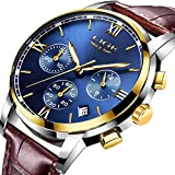 Men's Luxury Business Quartz Watch, LIGE Fashion Analog Chronograph Wrist Watch with Brown Leather Band ¡­