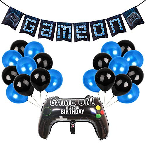 YBB Video Game Party Banner Supplies, Cool Blue Style Gaming Party Decorations Includes Game On Banner, Game Controller Foil Balloon and Blue Black Balloons for Boys Birthday Game Themed Party Favors]()