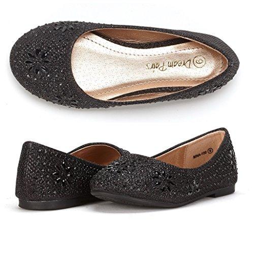 DREAM PAIRS Little Kid Nina-100 Black Glitter Girls Dress Shoes Classic Ballet Flats - 11 M US Little Kid - Girls Ballet Pumps