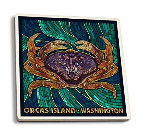 - Lantern Press Orcas Island, Washington - Dungeness Crab - Mosaic (Set of 4 Ceramic Coasters - Cork-Backed, Absorbent)