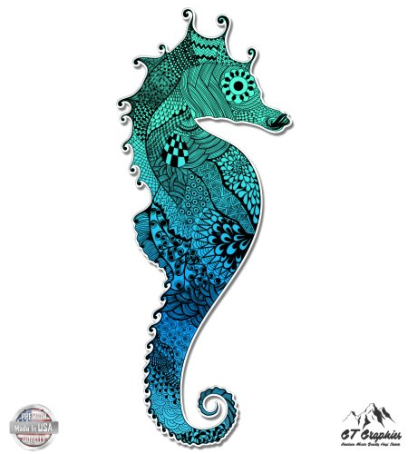 Seahorse Colorful Aquamarine - Vinyl Sticker Waterproof Decal GT Graphics