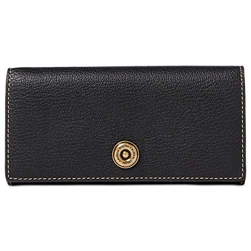 Ralph Lauren Millbrook Flap Closure Genuine Leather Continental Wallet (Black/Truffle)