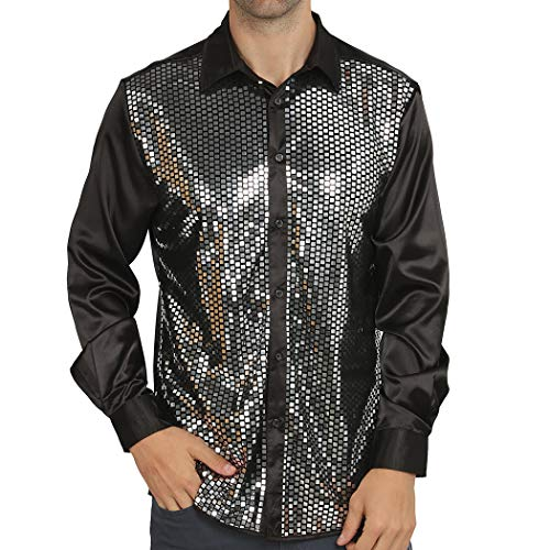 WULFUL Men Dress Shirt Sequins Long Sleeve Button Down Shirt Luxury Disco Party Nightclub Prom Costume Black ()