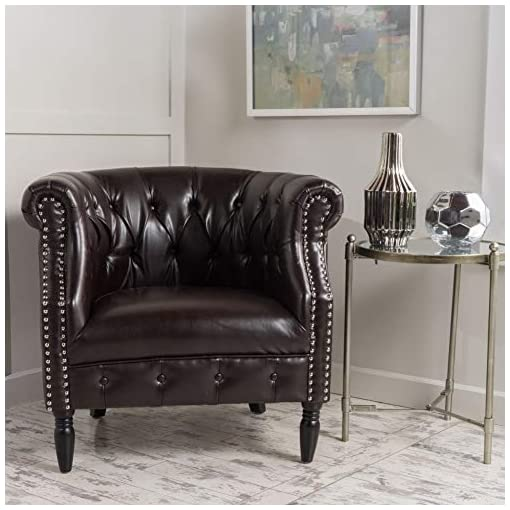 Farmhouse Accent Chairs Christopher Knight Home Akira Leather Club Chair, Brown farmhouse accent chairs