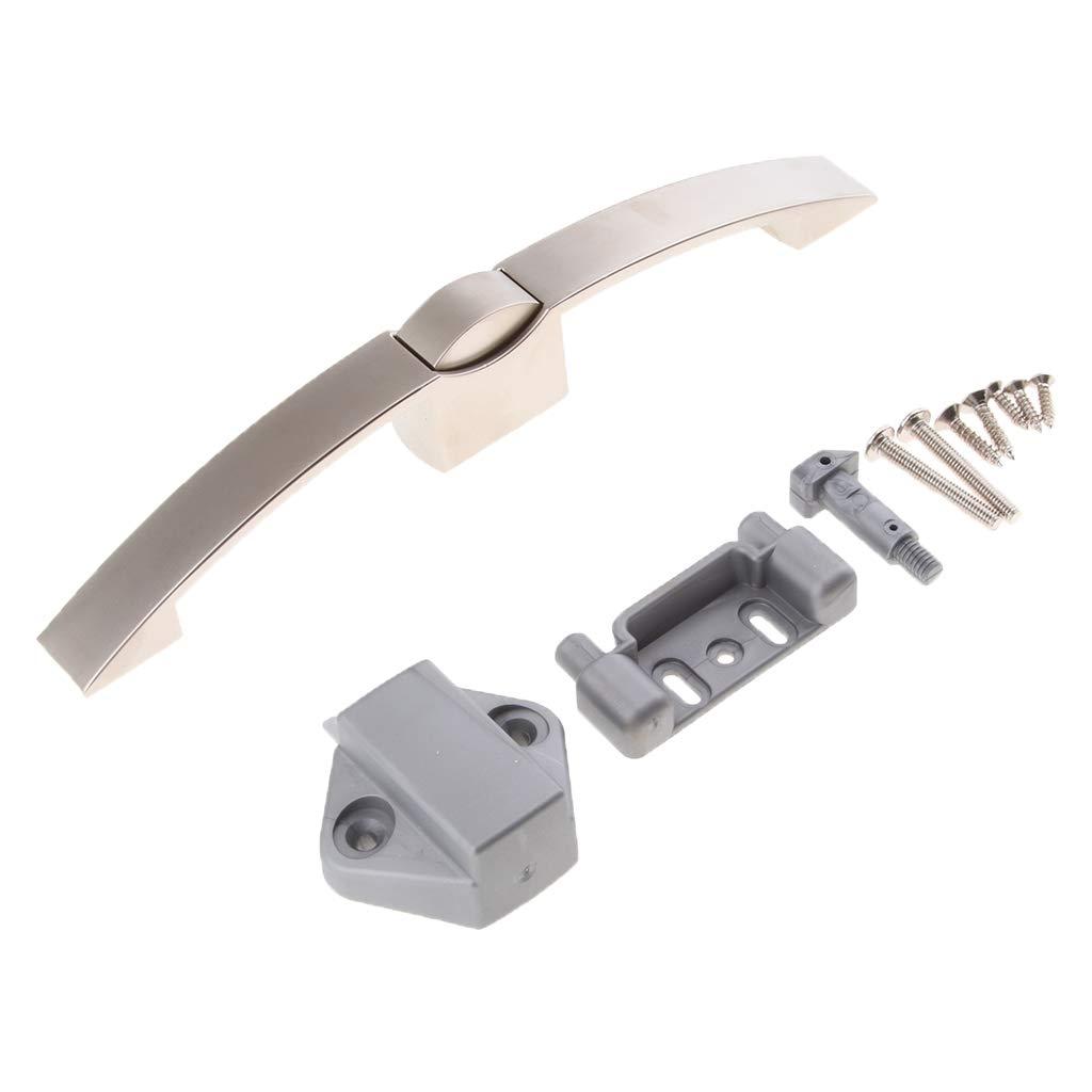 N/íquel cepillado 128mm Sharplace Bot/ón Pulsador Tire Manija de Bloqueo Accesorios para Gabinete Puerta RV