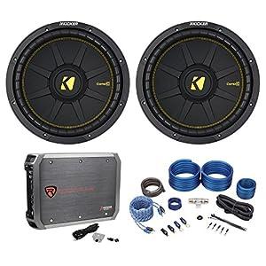 """(2) Kicker 44CWCD124 CompC 12"""" 1200w DVC 4-Ohm Car Subs+Mono Amplifier+Amp Kit"""
