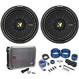 (2) Kicker 44CWCD124 CompC 12 1200w DVC 4-Ohm Car Subs+Mono Amplifier+Amp Kit