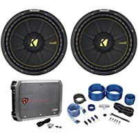 (2) Kicker 44CWCD124 CompC 12 1200w DVC 4-Ohm Car Subs+Mono Amplifier+Amp Kit