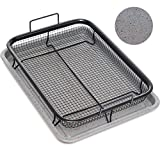 Home Icon Granite Copper Crisper Air Fryer Pan Non-Stick Oven Baking Tray with Crisping Basket 2pc Set