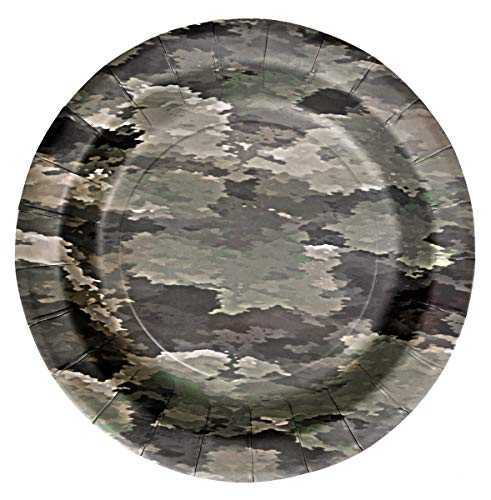 (Havercamp US Army Military Paper Plates - Authentic Camouflage Pattern Party Plates Set for Army, Military, Hunting, Camping & Birthday Party Supplies - 8 Paper Plates Pack 7